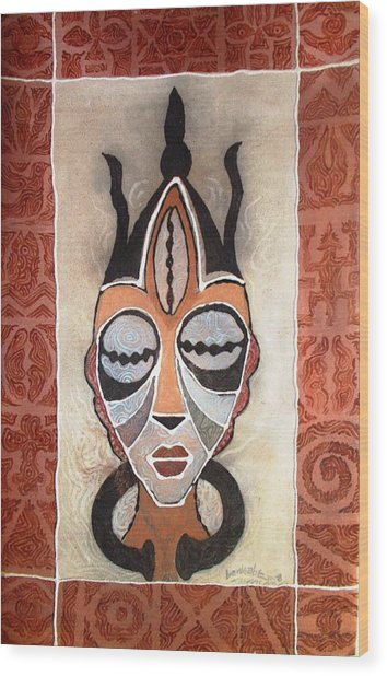 Aje Mask Wood Print