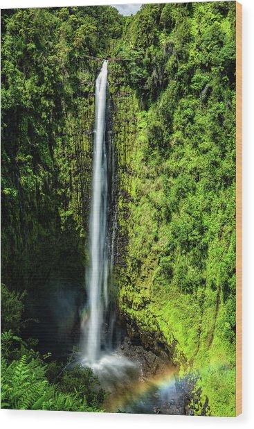 Akaka Falls With Rainbow Wood Print