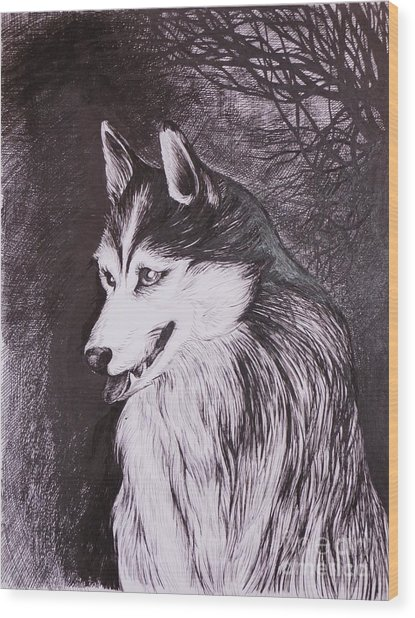 Akela Wood Print by Anna  Duyunova