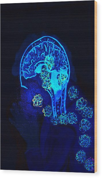 Al In The Mind Black Light View Wood Print
