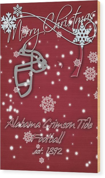 Alabama Crimson Tide Christmas Card 2 Wood Print