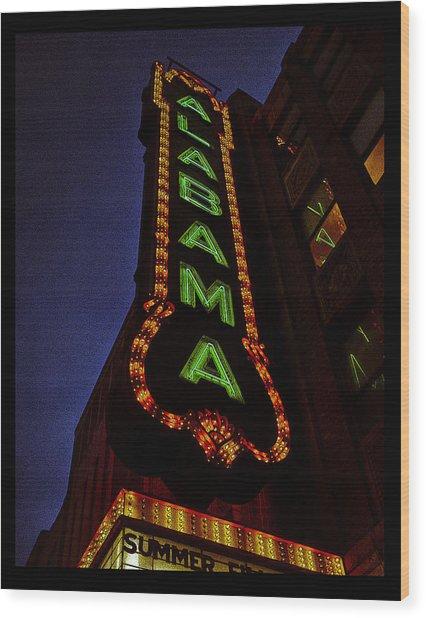 Alabama Lights Poster Wood Print