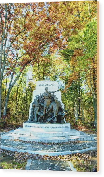 Alabama Monument At Gettysburg Wood Print