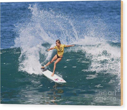 Alana Blanchard Surfing Hawaii Wood Print