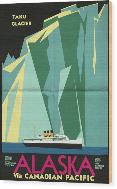 Alaska Canadian Pacific - Vintage Poster Folded Wood Print