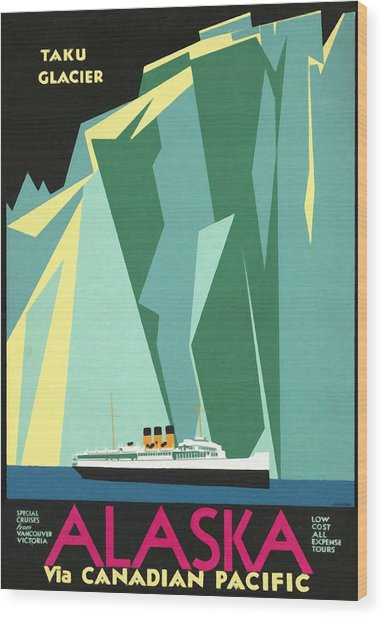 Alaska Canadian Pacific - Vintage Poster Restored Wood Print