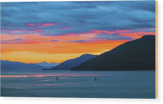 Alaska Fishermans Sunset Wood Print