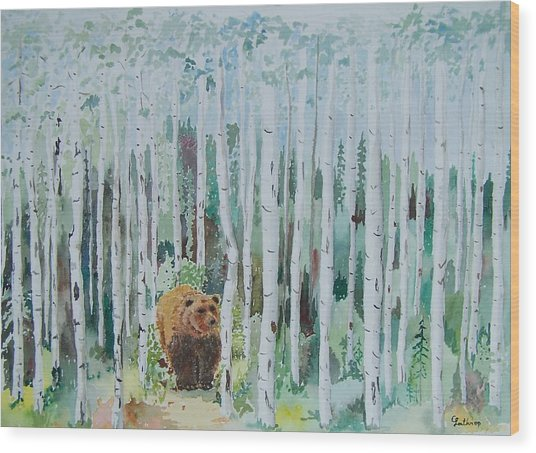 Alaska -  Grizzly In Woods Wood Print
