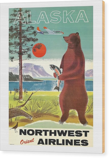 Alaska Kodiak Brown Grizzly Bear Vintage Airline Travel Poster Wood Print