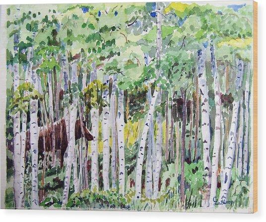 Alaska - Moose In Birches Wood Print