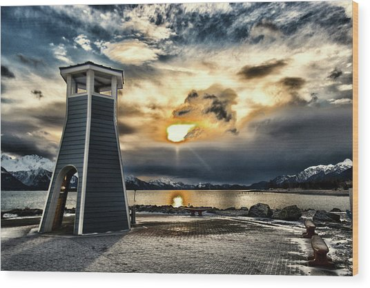 Wood Print featuring the photograph Alaska Starts Here Seward Alaska by Michael Rogers