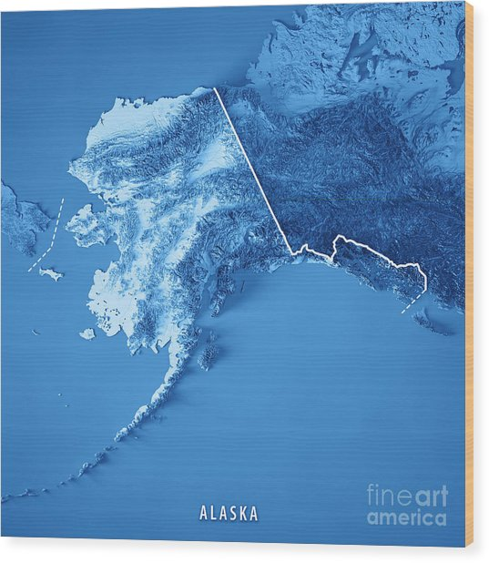 Alaska State 3d Render Topographic Map Blue Border Wood Print