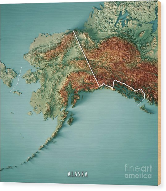 Alaska State 3d Render Topographic Map Border Wood Print
