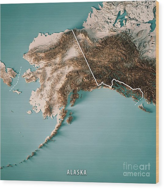 Alaska State 3d Render Topographic Map Neutral Border Wood Print