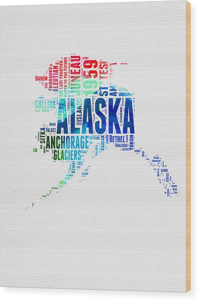 Alaska Watercolor Word Cloud  Wood Print