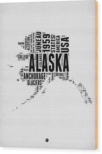 Alaska Word Cloud 2 Wood Print