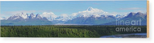 Alaskan Denali Mountain Range Wood Print