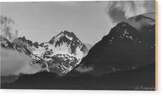 Alaskan Mountain Range Wood Print