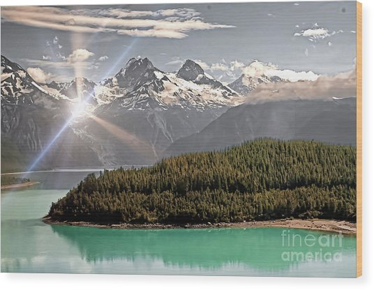 Alaskan Mountain Reflection Wood Print