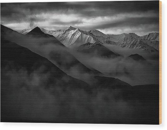 Alaskan Peak In The Shadows Wood Print