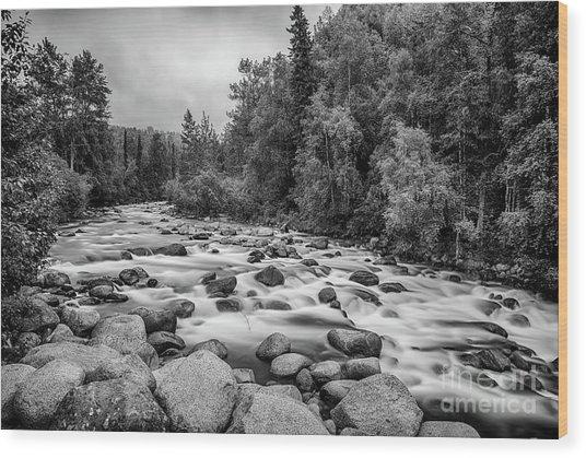 Alaskan Stream In Black And White Wood Print