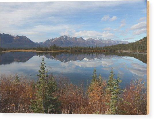Reflections At Alaska's Mentasta Lake Wood Print