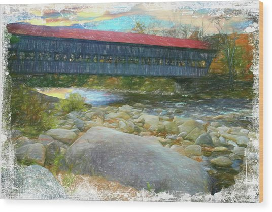 Albany Covered Bridge Nh. Wood Print