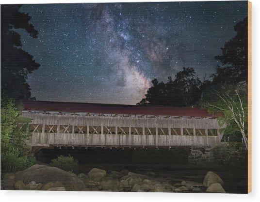 Albany Covered Bridge Under The Milky Way Wood Print
