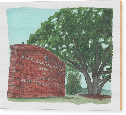 Albany Logistics Base Welcme Wood Print