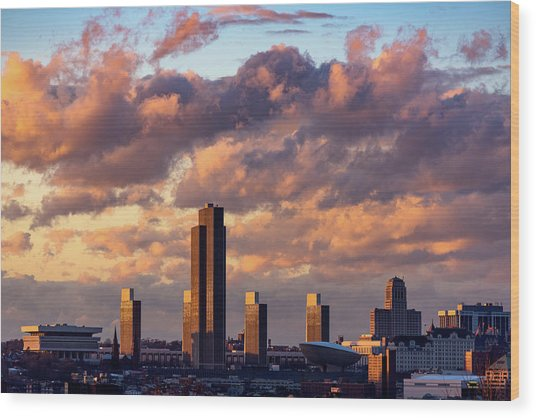 Albany Sunset Skyline Wood Print