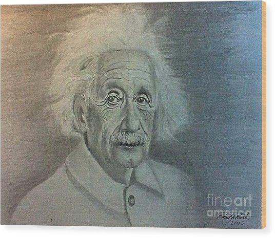 Albert Einstein Portrait Wood Print