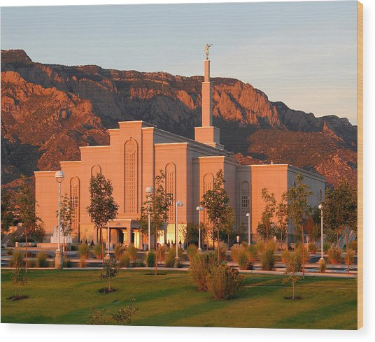 Albuquerque Lds Temple At Sunset 1 Wood Print