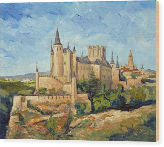 Alcazar In Segovia Wood Print