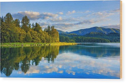 Alder Lake Reflection Wood Print