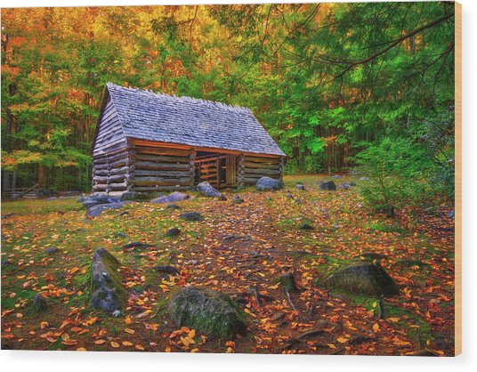 Alex Cole Cabin At Jim Bales Place, Roaring Fork Motor Trail In The Smoky Mountains Tennessee Wood Print