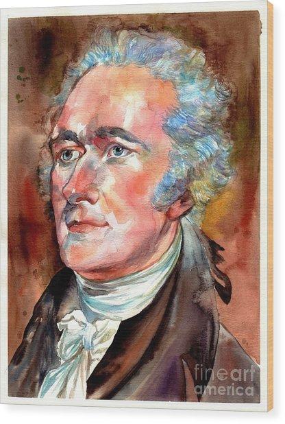 Alexander Hamilton Watercolor Wood Print