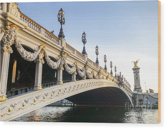 Alexandre IIi Bridge In Paris France Early Morning Wood Print