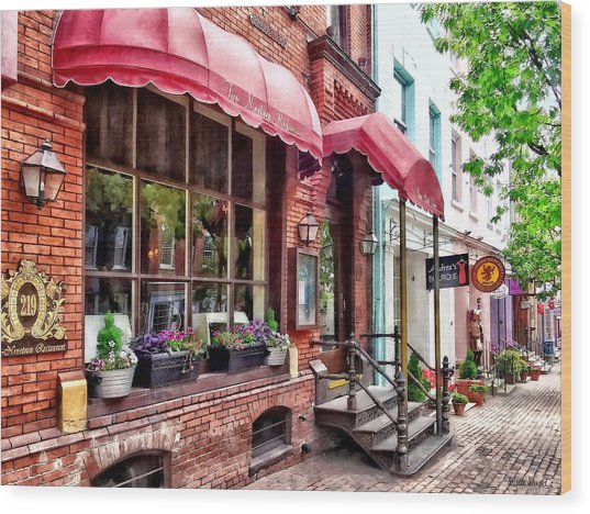 Alexandria Va - Red Awnings On King Street Wood Print