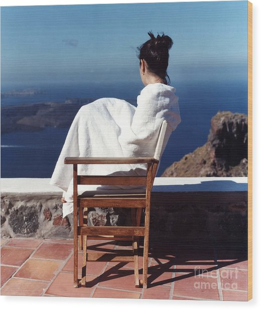 Alexis In Santorini IIi Wood Print by Andrea Simon