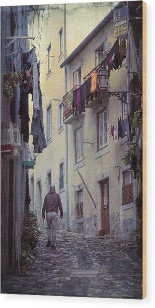 Alfama Life Lisbon Portugal Wood Print