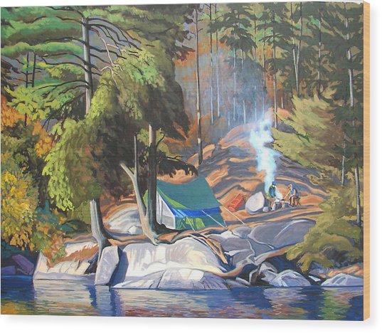 Algonquin Campsite Wood Print by Paul Gauthier
