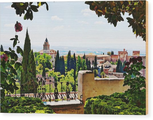 Alhambra Gardens, Digital Paint Wood Print