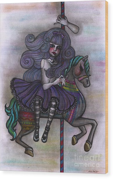 Alice And Merry-go-round Wood Print