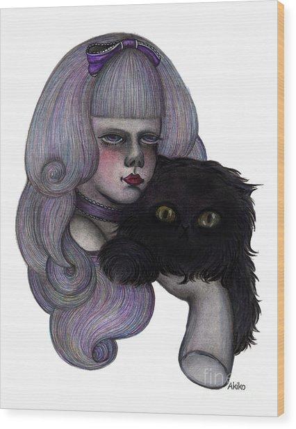 Alice With Black Cat Wood Print
