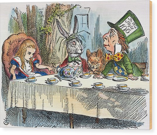 Alices Mad-tea Party, 1865 Wood Print