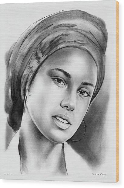 Alicia Keys 2 Wood Print