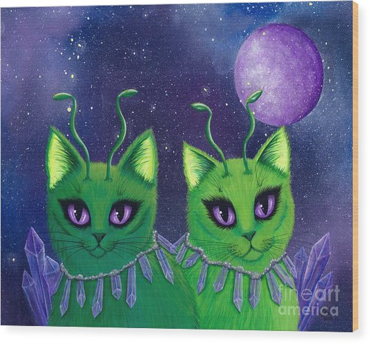 Alien Cats Wood Print