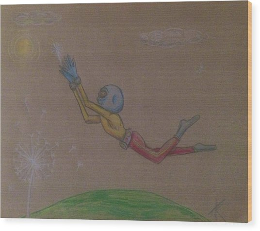 Alien Chasing His Dreams Wood Print