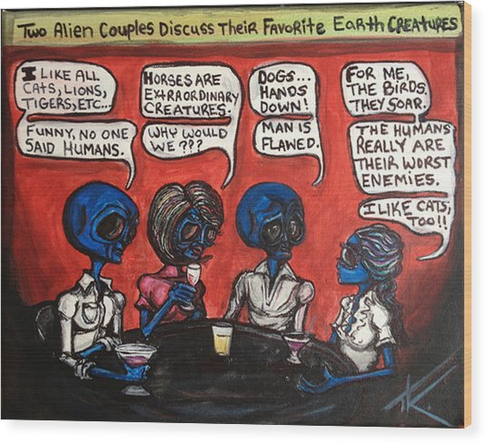 Alien Couples Discuss The Earths Creatures Over Drinks Wood Print
