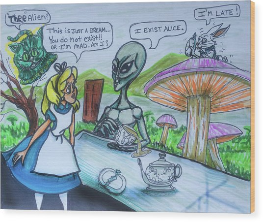 Alien In Wonderland Wood Print